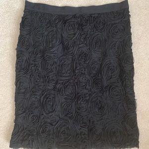 Black rosette pencil skirt